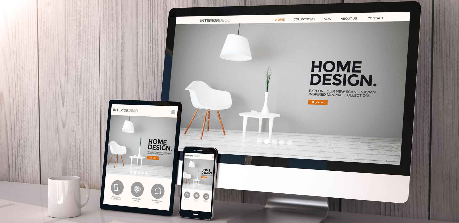 computer with interior design website