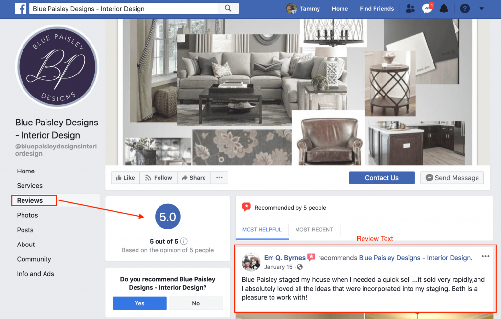 Example of Facebook rating review page