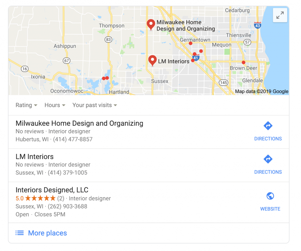 Google results showing 5 star reviews