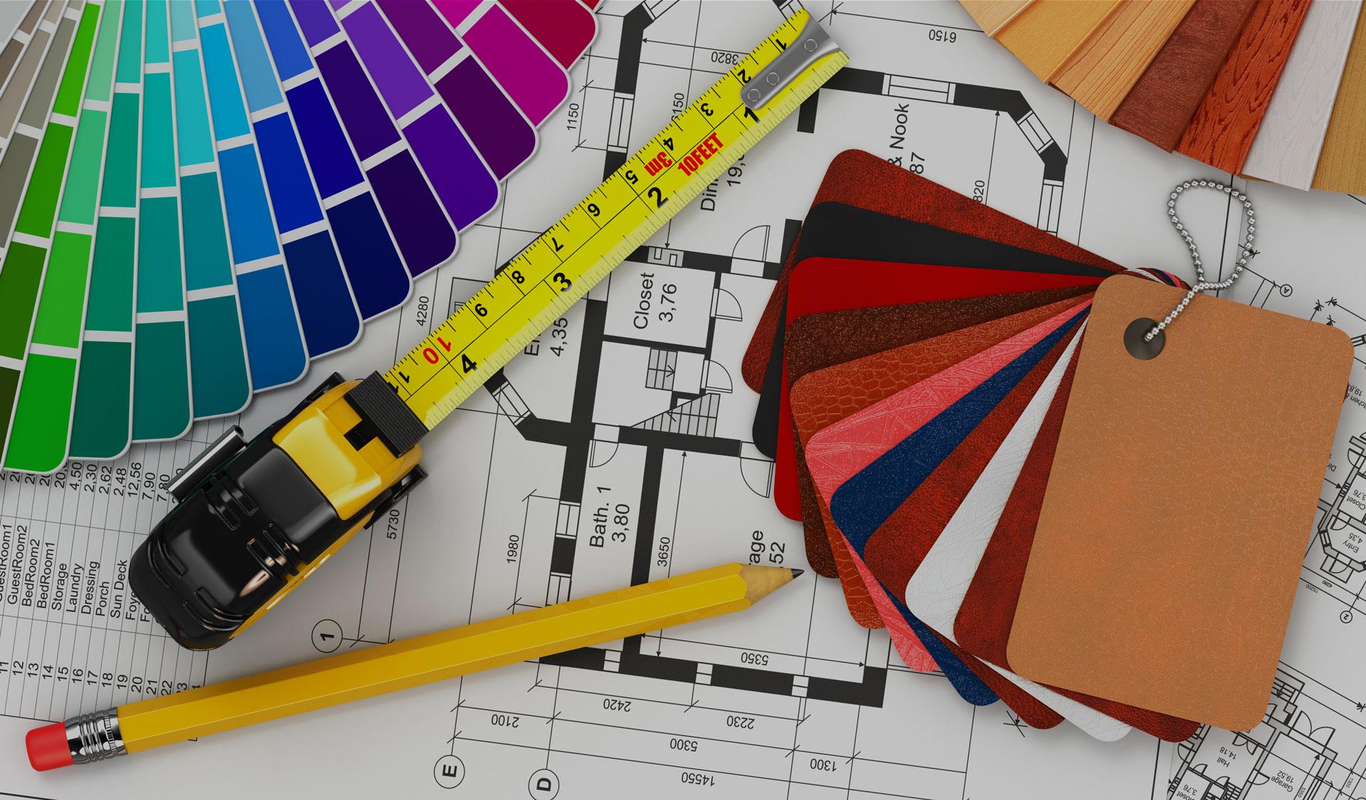 interior designer tools on a blueprint