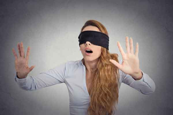 woman wearing blindfold
